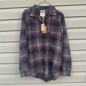 American Eagle Womens Medium Flannel Plaid Top